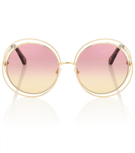 Chloé Carlina round sunglasses in pink