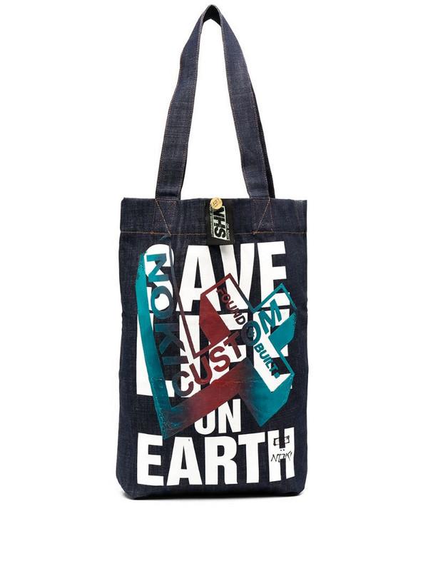 Katharine Hamnett London x Noki printed upcycled denim bag in blue