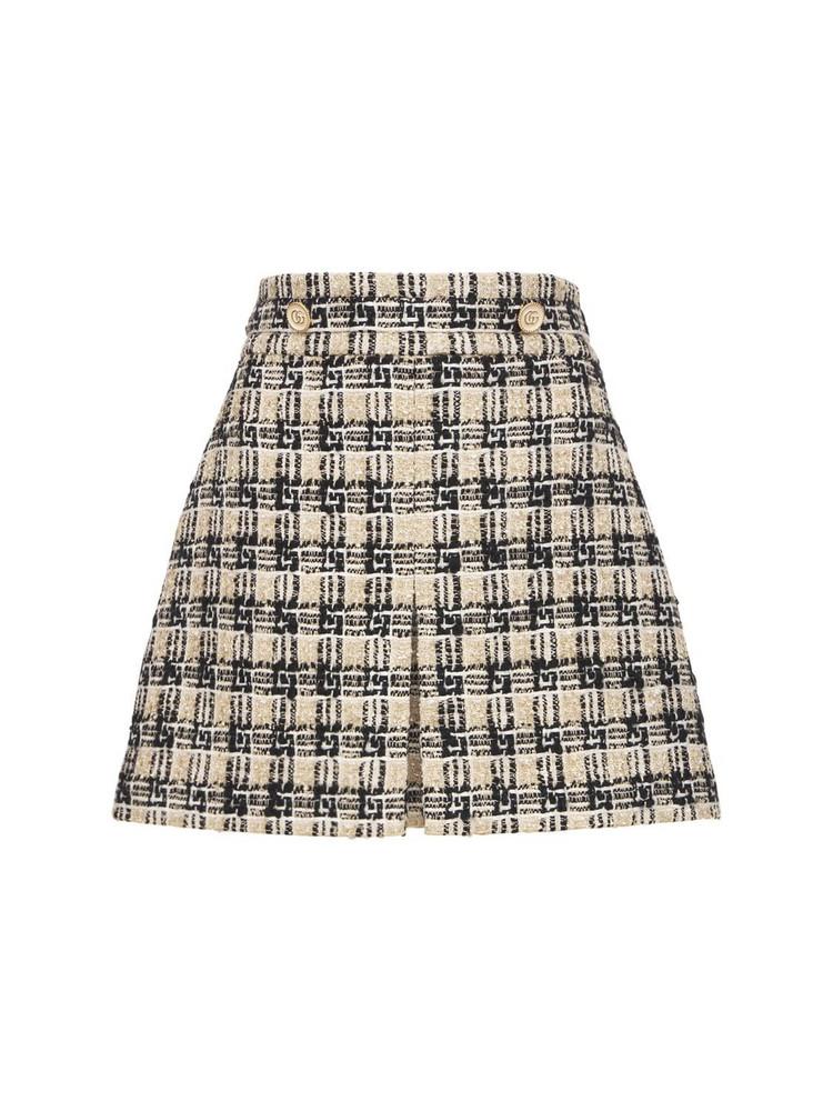 GUCCI Multicolor Wool Blend Tweed Skirt in black / beige