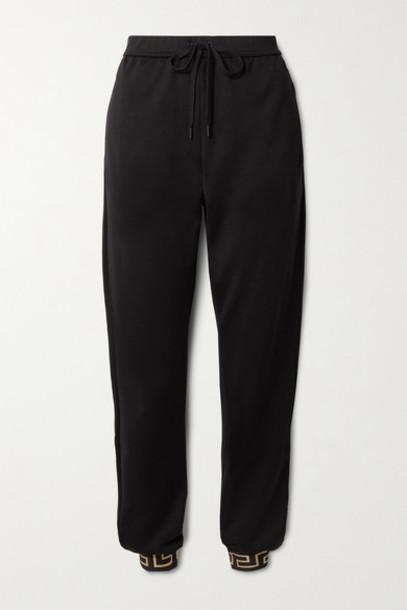 Versace - Printed Jersey Track Pants - Black