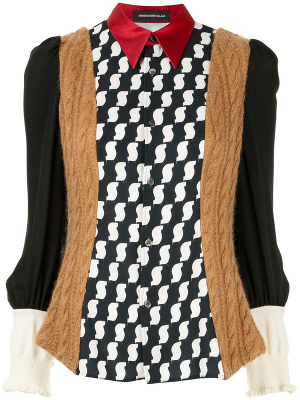 Undercover printed knit panelled blouse in black
