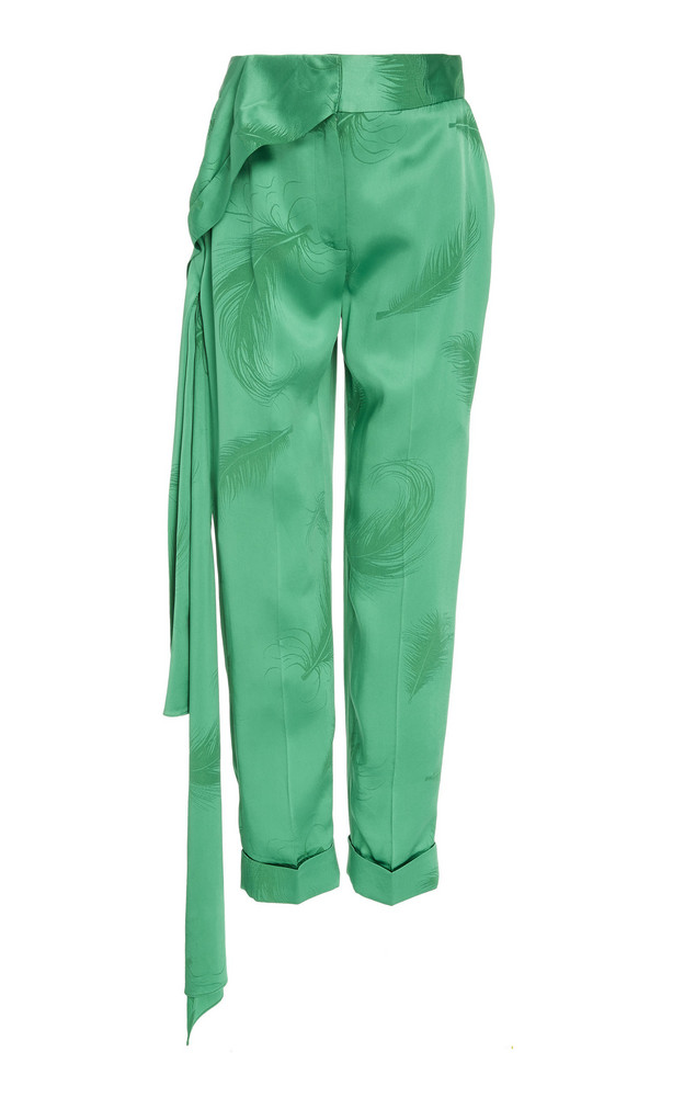 Hellessy O'Keefe Straight-Leg Crepe Pants in green