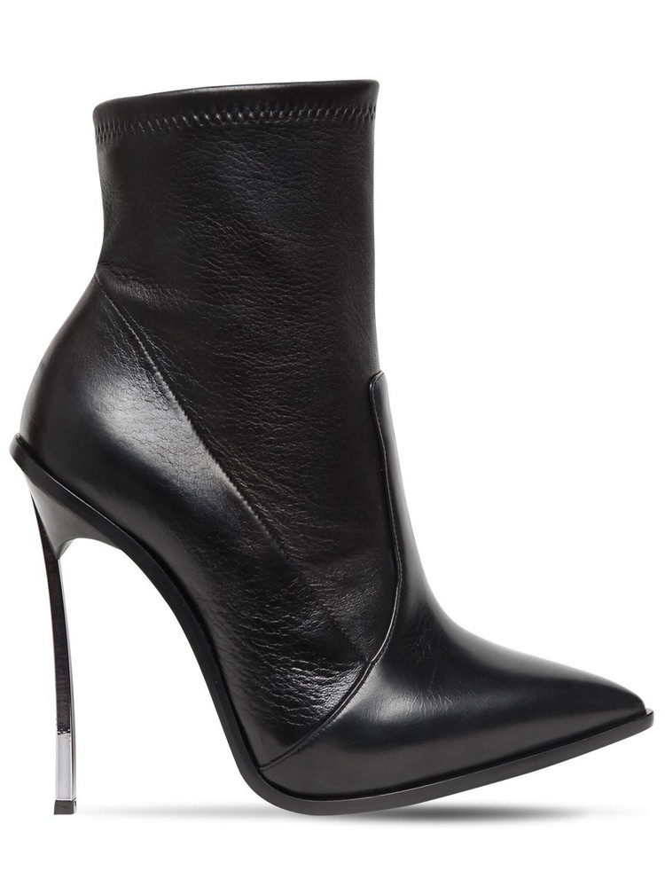 CASADEI 120mm Maxi Blade Stretch Leather Boots in black