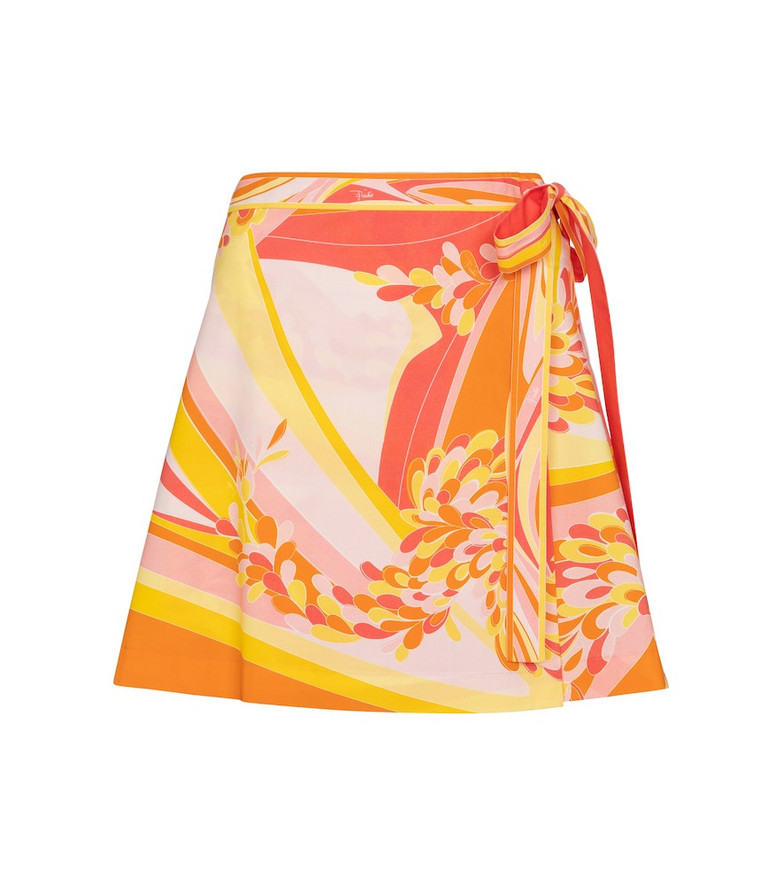 Emilio Pucci Beach Printed cotton poplin miniskirt in orange