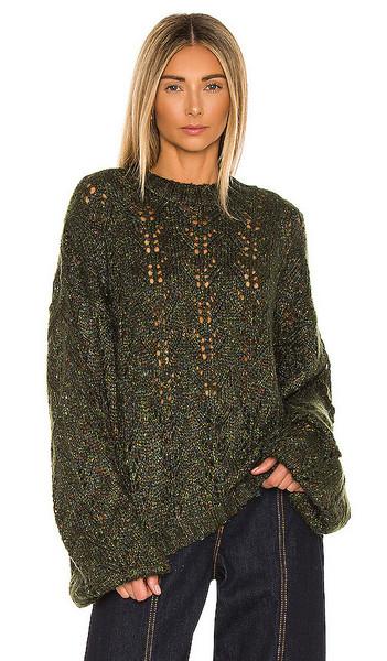 One Teaspoon Day Party Knit Sweater in Green in khaki