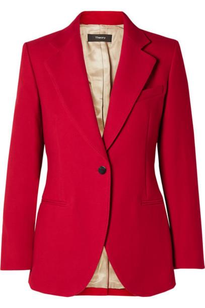 Theory - Cotton-twill Blazer - Red