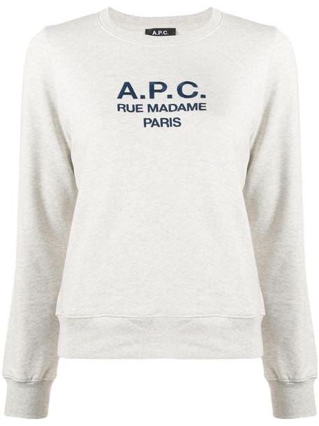 A.P.C. long sleeve logo sweater in grey