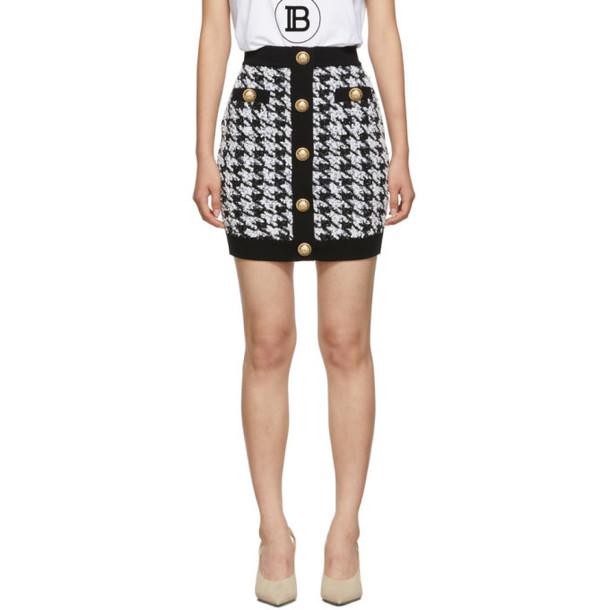 Balmain Black and White Houndstooth Tweed Miniskirt