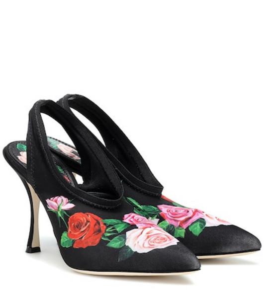 Dolce & Gabbana Lori floral satin slingback pumps in black