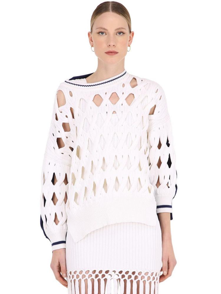 SONIA RYKIEL Oversize Wool Blend Knit Sweater in white