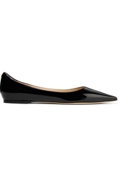 Jimmy Choo - Love Patent-leather Point-toe Flats - Black