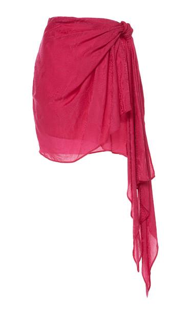 Dundas Tone on Tone Jacquard Mini Skirt in pink