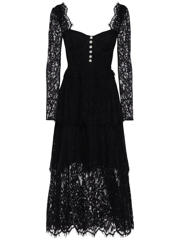 SELF-PORTRAIT Embellished Cotton Blend Lace Midi Dress in black