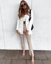 jacket,white blazer,double breasted,sandal heels,skinny pants,white top,crop tops,black bag
