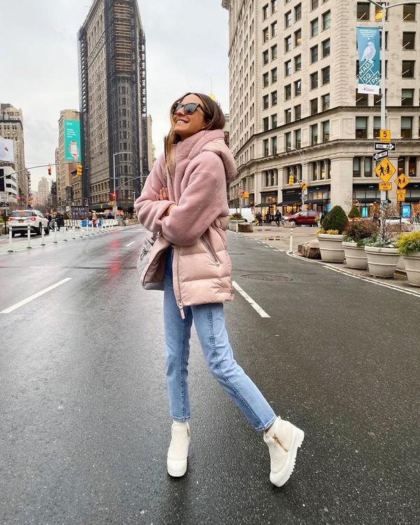 jacket pink jacket ankle boots white boots skinny jeans