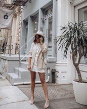 skirt,denim skirt,white skirt,cropped,blazer,sandals,white bag,white t-shirt,hat