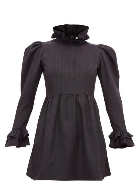Batsheva - High Neck Ruffled Puff Sleeved Mini Dress - Womens - Black