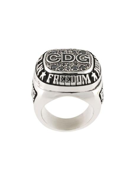 Comme Des Garçons freedom logo signet ring in silver
