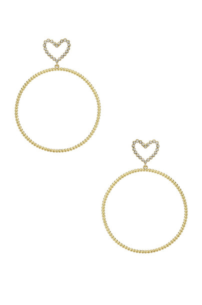 Luv AJ The Dotted Heart Hoop Earrings in gold / metallic