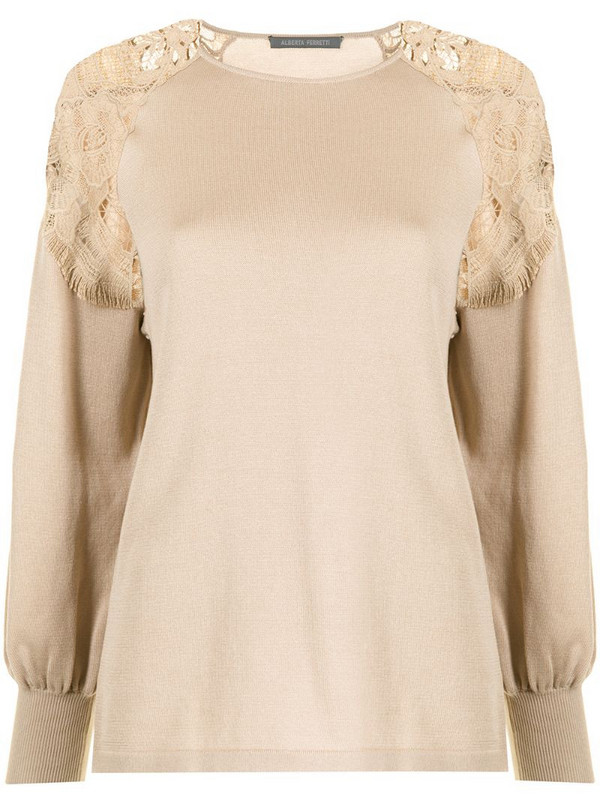 Alberta Ferretti lace-trimmed long-sleeved T-shirt in brown