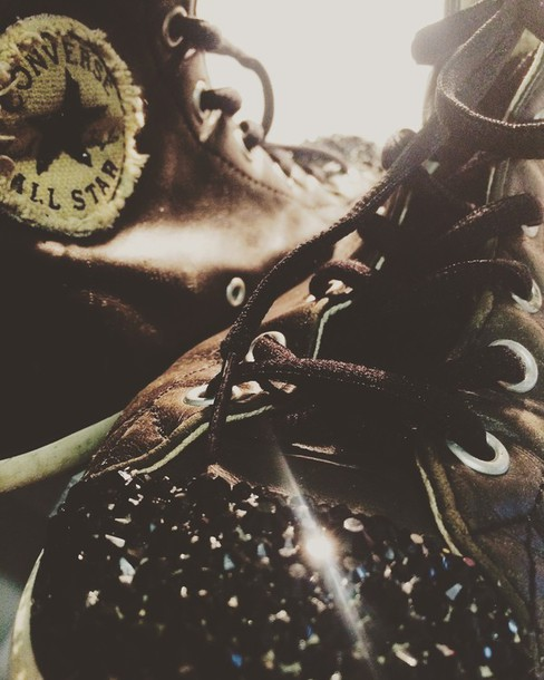 shoes converse sneakers leather strass customized fashion