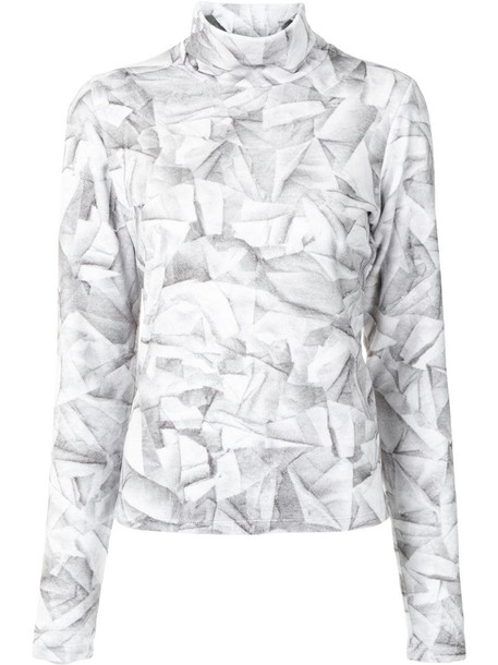 MM6 Maison Margiela abstract print turtleneck top in grey