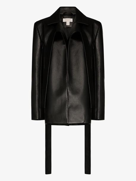 Matériel faux leather blazer jacket in black