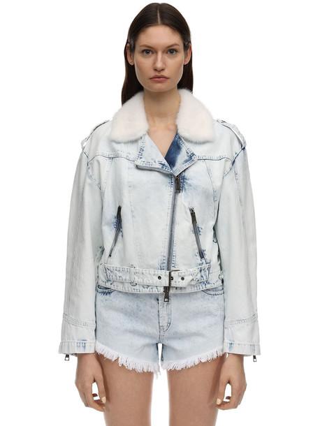 SIMONETTA RAVIZZA Denim Biker Jacket W/ Mink Collar in blue / white