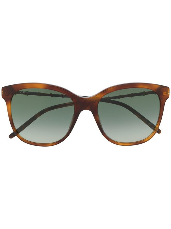 Gucci Eyewear bamboo-effect soft-square sunglasses in brown