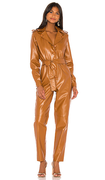 Ronny Kobo Alie Faux Leather Jumpsuit in Brown