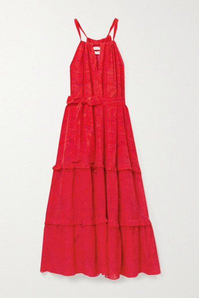 Chufy - Huancayo Tiered Printed Crepe De Chine Maxi Dress in red
