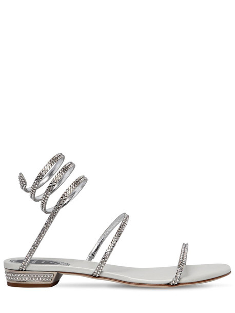 RENÉ CAOVILLA 20mm Embellished Satin Flat Sandals in silver