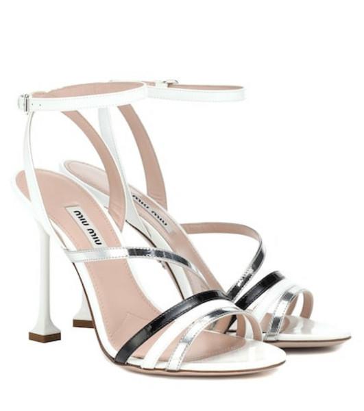 Miu Miu Patent leather sandals in white