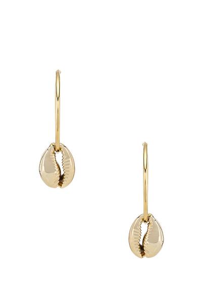 joolz by Martha Calvo Puka Shell Hoop Earrings in gold / metallic