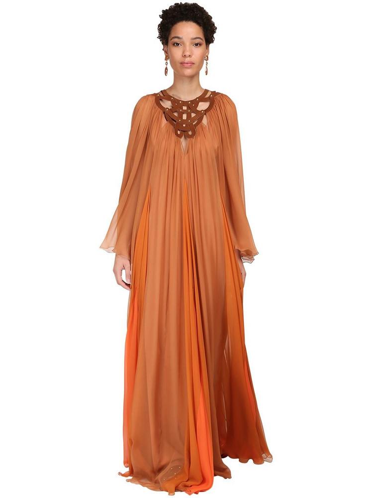 ALBERTA FERRETTI Sheer Silk Chiffon Long Dress in orange