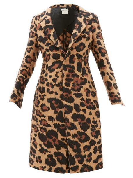 Bottega Veneta - Leopard Jacquard Single Breasted Coat - Womens - Leopard