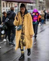coat,teddy bear coat,long coat,floral,leggings,black boots,ankle boots,patent shoes,celine,bag