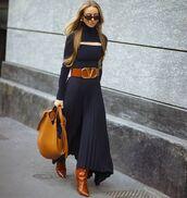 skirt,midi skirt,asymmetrical skirt,bag,pleated skirt,turtleneck