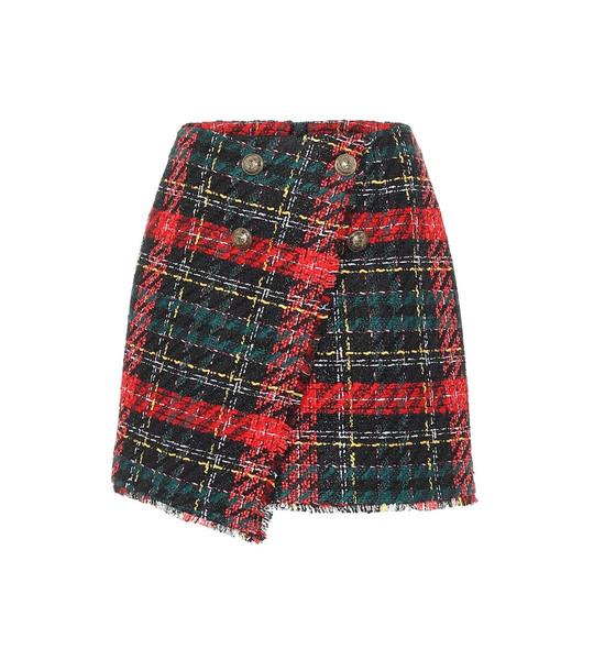 Balmain Plaid tweed miniskirt in red