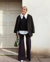 pants,flare pants,chloe,white shoes,white shirt,knitted sweater,plaid,green bag,black blazer