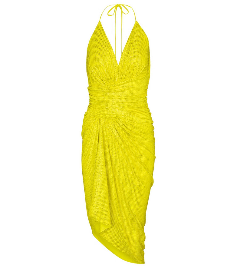 Alexandre Vauthier Embellished stretch-jersey minidress in yellow