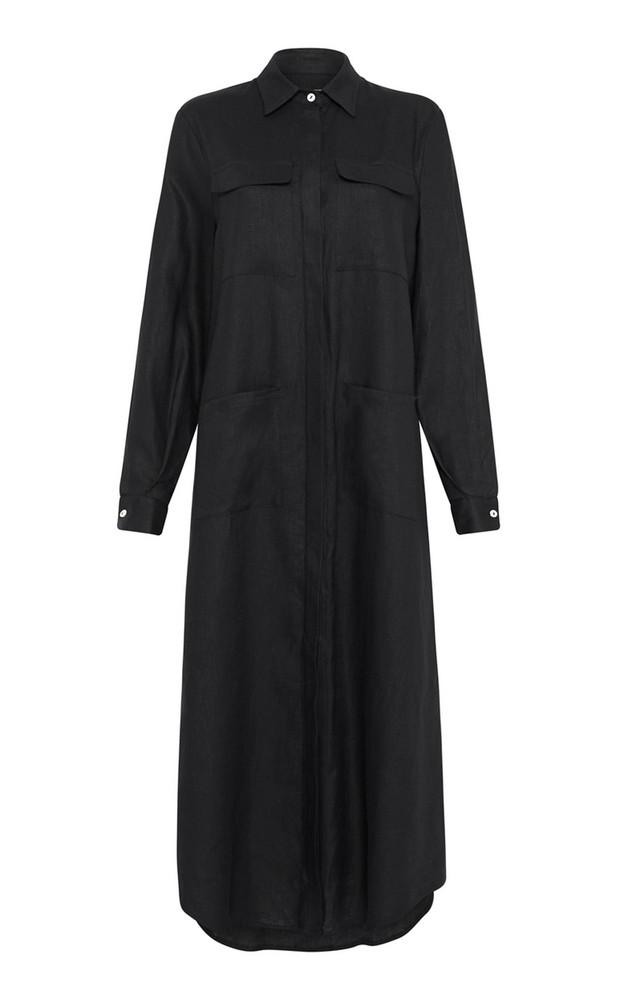 Matin Linen Maxi Shirt Dress in black