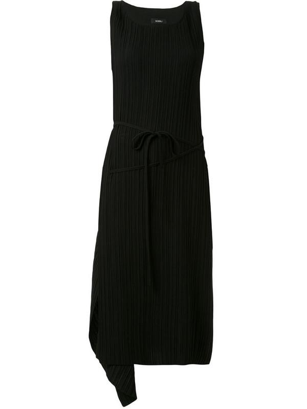 Goen.J asymmetric drape shift dress in black