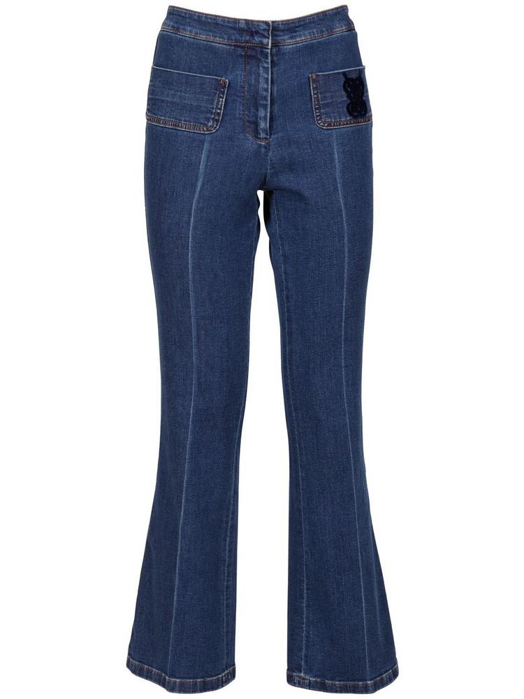 GIAMBATTISTA VALLI Mid Rise Flared Denim Jeans in blue