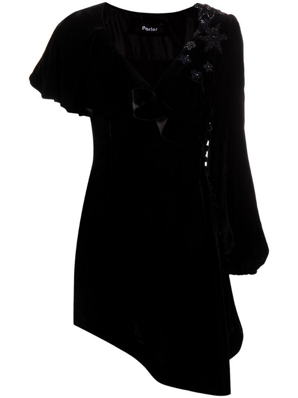 Parlor asymmetric velvet cocktail dress in black