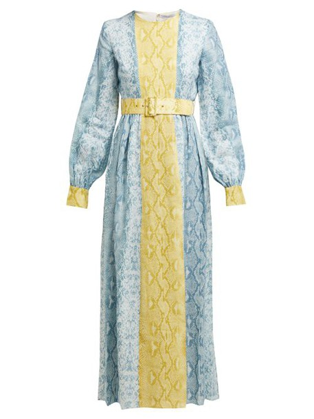 Emilia Wickstead - Snakeskin Print Linen Dress - Womens - Blue Print
