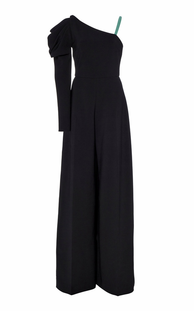 Christian Siriano Draped Wide-Leg Jersey Jumpsuit Size: 2 in black