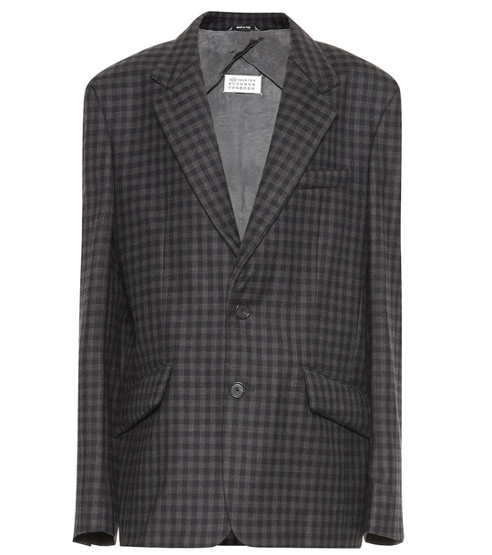 Maison Margiela Checked wool-blend blazer in blue
