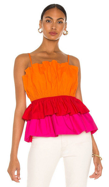 MILLY Naomi Poplin Top in Orange in multi