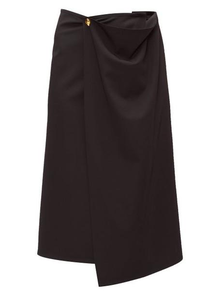 Bottega Veneta - Draped Gabardine Midi Skirt - Womens - Black